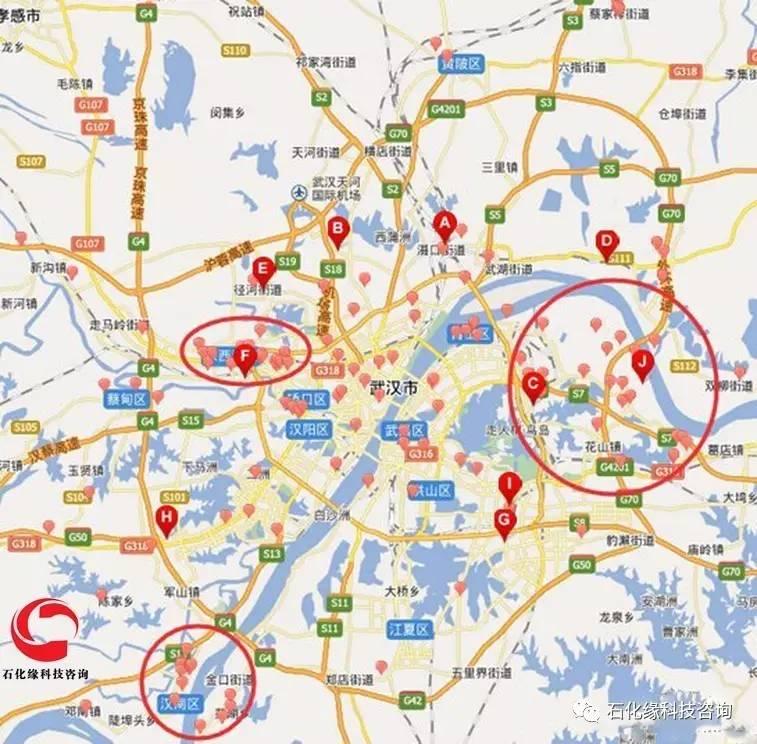焦化厂分布图,化工业园区分布图以及天然气管道等分布地图.